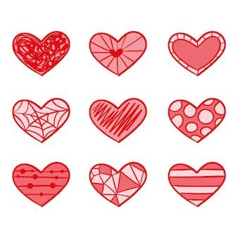 Набор рисованной стиль сердца