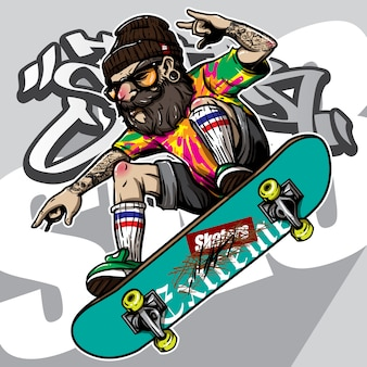 Hand drawn style of hipster riding skateboard