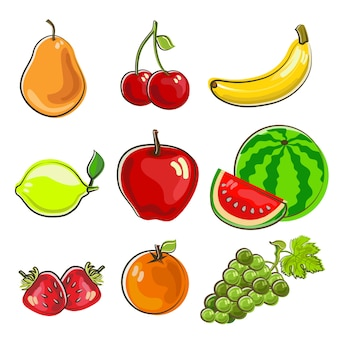 Hand drawn style icon of fruits