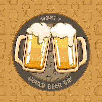 Hand drawn style international beer day