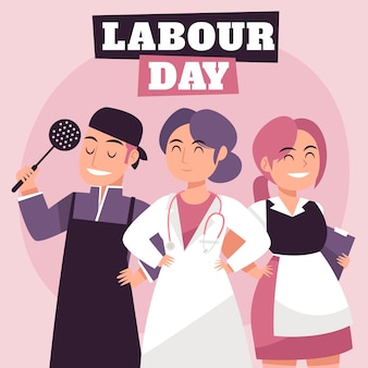 Hand drawn style labour day