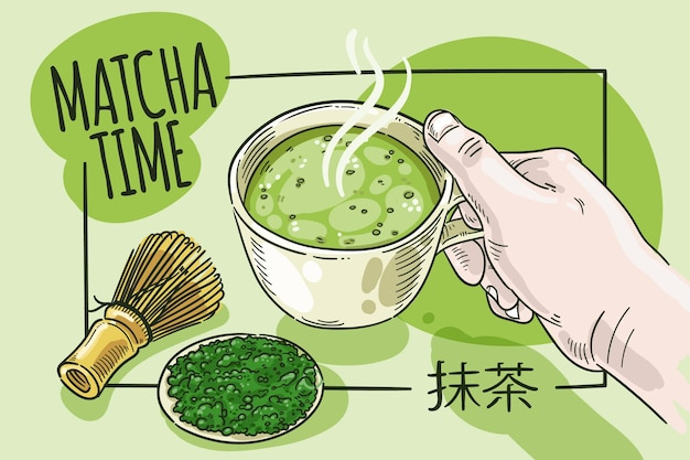 Hand drawn style matcha tea background