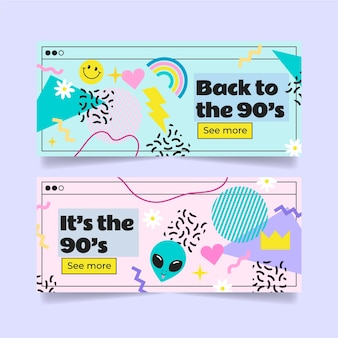 Hand drawn style nostalgic 90's banners template