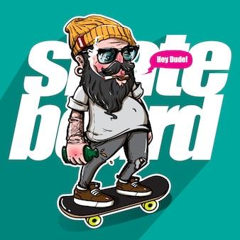 스케이트 보드를 타고 술 취한 사람의 손으로 그린 스타일