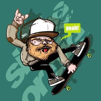 スケートボードに乗っている老人の手描きのスタイル