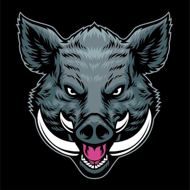 手描きのスタイルog怒っている野生の豚の頭