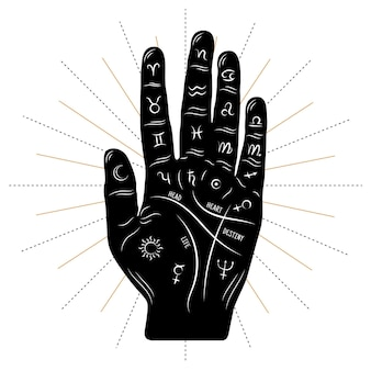 Hand drawn style palmistry symbol