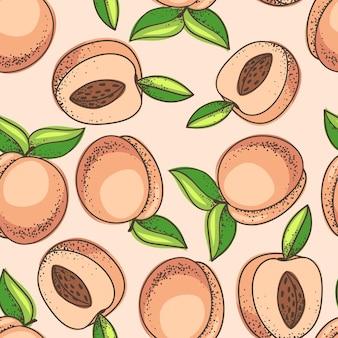 手描きスタイルの桃のパターン