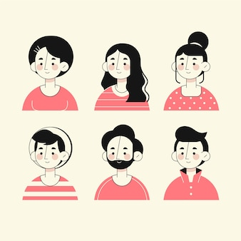 Hand drawn style people avatars