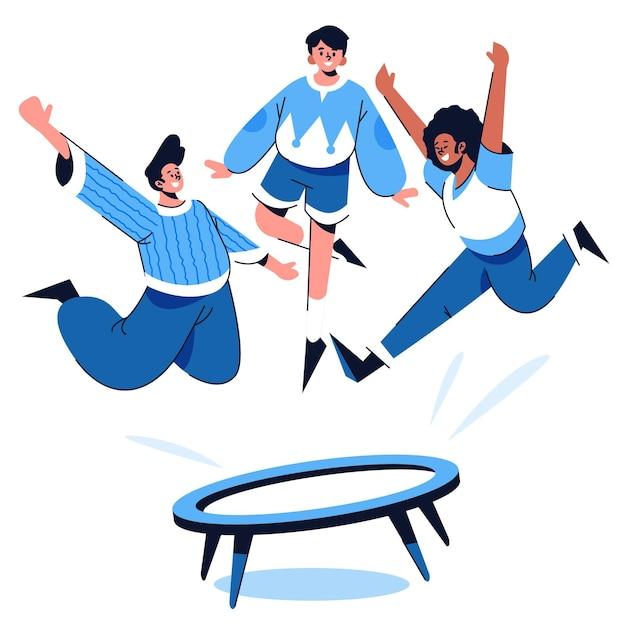 트램폴린에서 점프하는 손으로 그린 스타일의 사람들