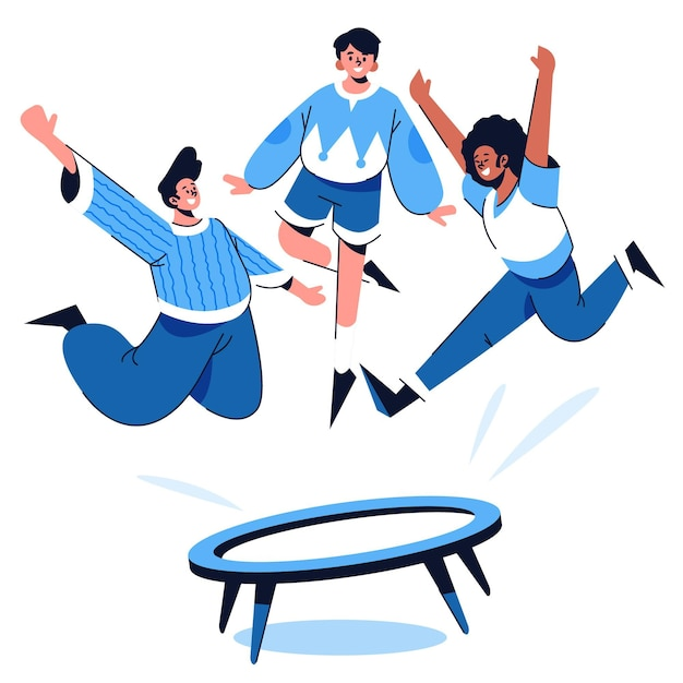 Hand drawn style people jumping on trampoline