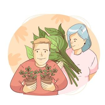 植物の世話をする手描きスタイルの人々