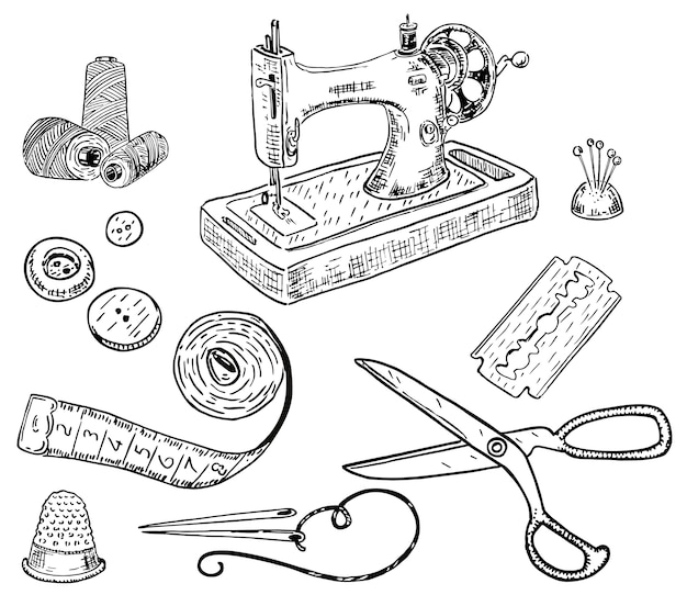 Hand drawn style sewing kit