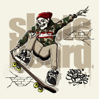 Hand drawn style of skull riding skateboard