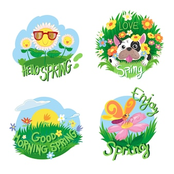 Hand drawn style spring badge collection