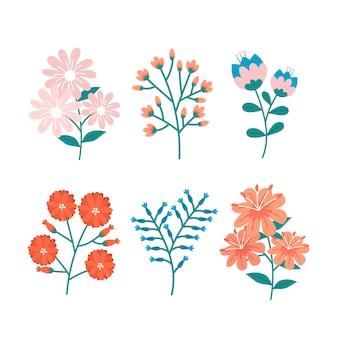Коллекция рисованной весенний цветок в стиле