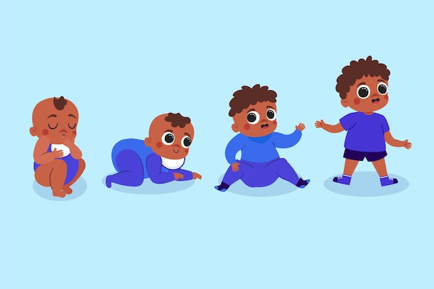 Hand drawn style stages of a baby boy