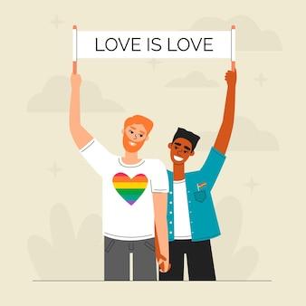 손으로 그린 스타일 중지 동성애 공포증 개념