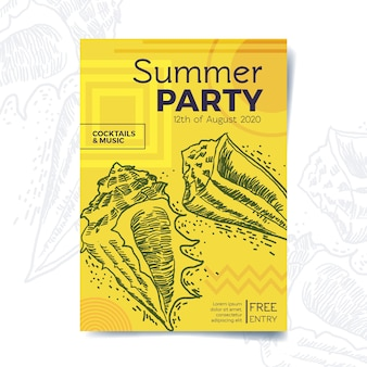 Hand drawn style summer party poster