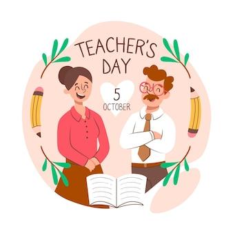 Celebrare il giorno degli insegnanti di stile disegnato a mano