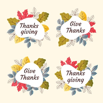Hand drawn style thanksgiving badges