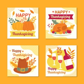 Hand drawn style thanksgiving instagram posts