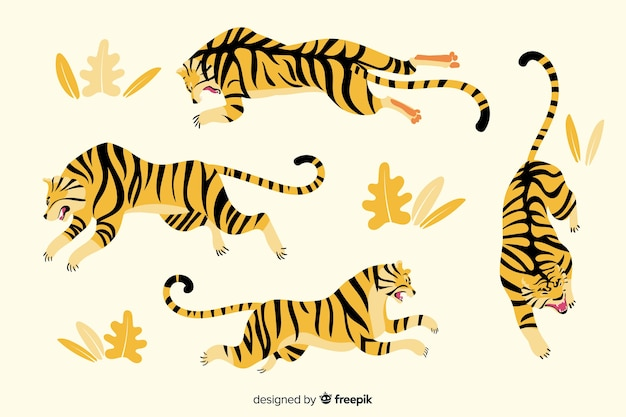 Hand drawn style tiger collection