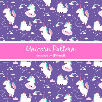 Hand drawn style unicorn pattern