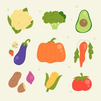 Hand drawn style vegetarian food collection