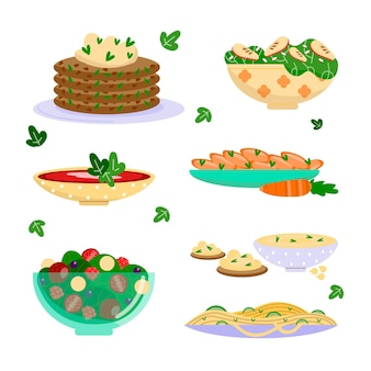 Hand drawn style vegetarian food set