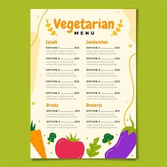 Hand drawn style vegetarian menu