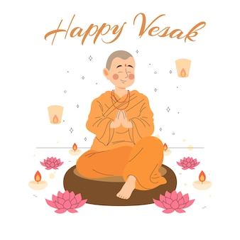 Hand drawn style vesak celebration