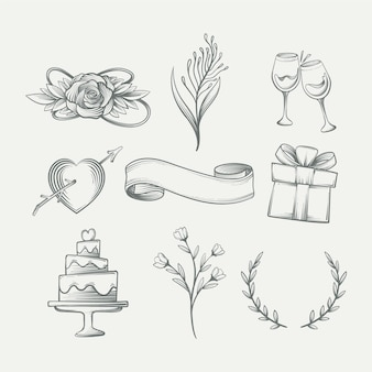 手描きスタイルの結婚式の飾りセット