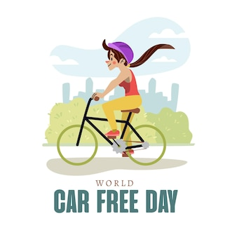 Hand drawn style world car free day