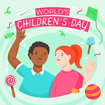Hand drawn style world children's day