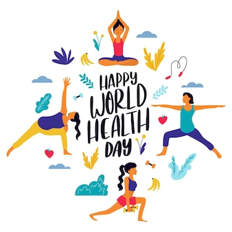 Hand drawn style for world health day