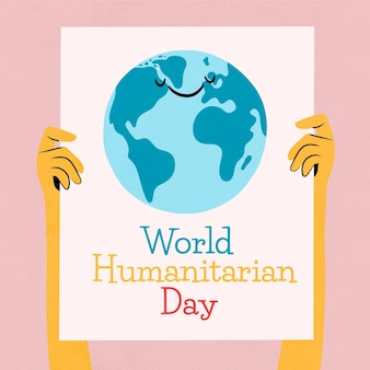 Hand drawn style world humanitarian day