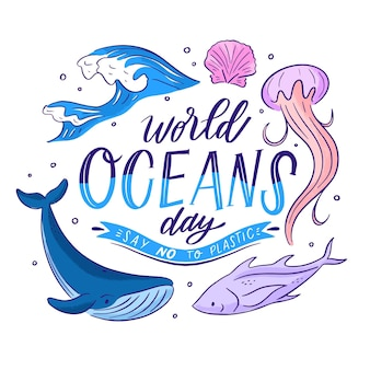 Hand drawn style world oceans day