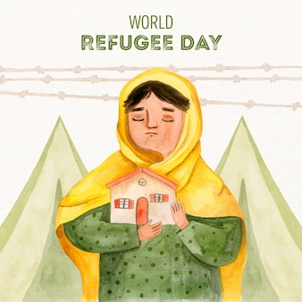 Hand drawn style world refugee day