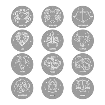 Hand drawn style zodiac sign pack