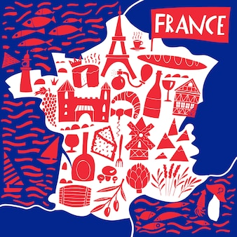 Hand drawn stylized map of france. travel illustration with french landmarks, food and plants. geography illustration