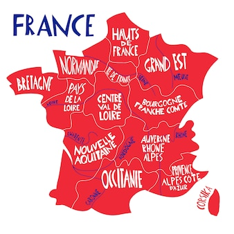 Hand drawn stylized map of france. travel illustration with french regions, cities names.