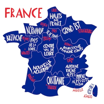 Hand drawn stylized map of france. travel illustration with french regions, cities and rivers names. hand drawn lettering illustration. europe map element