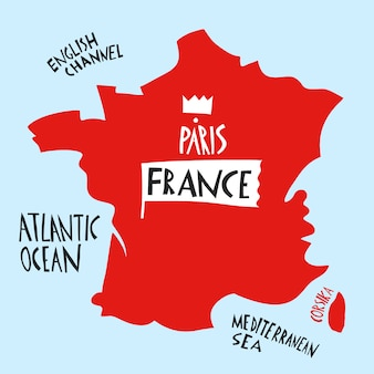 Hand drawn stylized map of france. travel illustration with water names.