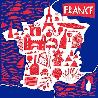 手描きのフランスの様式化された地図。フランスのランドマーク、食べ物、植物のイラストを旅行します。地理図