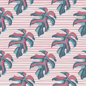 Hand drawn stylized seamless monstera pattern. simple leaf silhouettes in pastel blue and pink tones on light stripped background.
