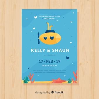 Hand drawn submarine wedding invitation template