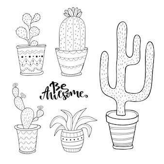 손으로 그린 즙이 많은 선인장 세트. 냄비에 낙서 식물. 귀여운 집 인테리어 식물 설정 벡터 라인 아트