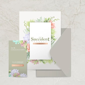 Hand drawn succulent themed envelope template set