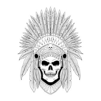 Hand drawn sugar skull american indian